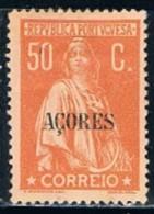 Açores, 1912/3, # 162, Papel Porcelana, MH - Azores