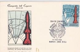 CONQUISTA DEL ESPACIO, PRIMER ANIVERSARIO OPERACION MATIENZO 1966 FDC - ARGENTINA/L'ARGENTINE - RARE - BLEUP - FDC & Gelegenheidsboekjes