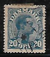 Denmark 1921 King Christian VIII 20 Ore Used Stamp # AR:223 - 1913-47 (Christian X)