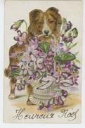 CHIENS - DOG - Jolie Carte Fantaisie Avec Paillettes Chien Avec Panier De Violettes - Cani