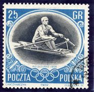 POLAND 1956 Olympic Games 25 Gr. With Broken Top To 5, Used.  Fischer 845 B I - Errors & Oddities