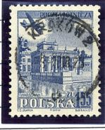 """POLAND 1954 Airmail 1.55 Zl. With Double Print Of """"WARSZAWA"""", USED. Michel 859 DP, Fischer 719 B I - Errors & Oddities"""