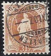 14 Vertikalzähne WZ I 1907: Zu 92C Mi 80D Yv 99  - 3 Fr Braun Mit O ST.GALLEN ?.XI.07 (Zu CHF 295.00) - 1882-1906 Wappen, Stehende Helvetia & UPU