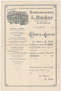 GENEVE, Suisse 1923 - Horlogerie L. Bader - Certificat De Garantie - Suisse
