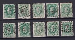 N° 30 Oblitérations Losange De Points 10 Timbres - 1869-1883 Léopold II