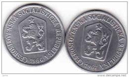 Tschechoslowakei - Tchécoslovaquie 2 X 10 Halier, Haler 1966 + 1967 - Tschechoslowakei