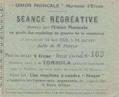 Vieux Papiers - Billet De Tombola - Union Musicale - Ercuis - Neuilly En Thelle 60 - Lot Machine à Coudre Singer - Billets De Loterie