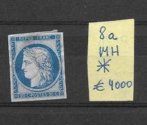 FRANCE CERES YVERT NR. 8a Bleu Fonce Dite MARQUELET MH AVEC GOMME ORIGINALE AVEC CHARNIERE - 1849-1850 Cérès