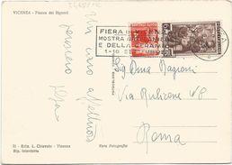 Z4681 Vicenza - Piazza Dei Signori - Annullo Targa Fiera Di Vicenza Mostra Laniera E Caramica / Viaggiata 1951 - 1946-.. République