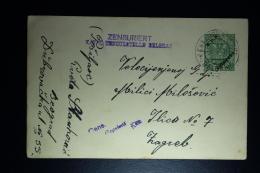 AUSTRIA: KuK Postcard Etappenpost  Serbia Belgrado 1916 To Zagreb Censor Cancel Belgrado - Briefe U. Dokumente