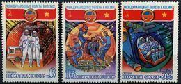 USSR Russia 1980 Soviet Vietnam Cosmonauts Soyuz Space Satellite Flags Sciences Stamps MNH Mi 4978-80 SG#5019-21 - Stamps