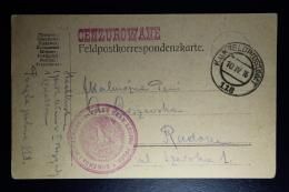 AUSTRIA: KuK Postcard Etappenpost  POLISH LEGION General Pilsoedski1916  To Radom   Sensor Cancel Polish Eagle - 1850-1918 Empire