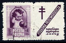 POLAND 1948 Anti-Tuberculosis Fund 6+4 Zl. With Label, Used.  Michel 513 Zf, Fischer 487 Pw9 - 1944-.... Republic