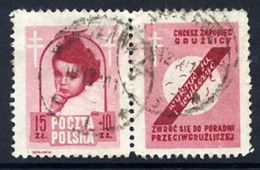 POLAND 1948 Anti-Tuberculosis Fund 15+10 Zl. With Label, Used.  Michel 514 Zf, Fischer 488 Pw3 - 1944-.... Republic