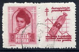 POLAND 1948 Anti-Tuberculosis Fund 15+10 Zl. With Label, Used.  Michel 514 Zf, Fischer 488 Pw7 - 1944-.... Republic