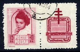 POLAND 1948 Anti-Tuberculosis Fund 15+10 Zl. With Label, Used.  Michel 514 Zf, Fischer 488 Pw6 - 1944-.... Republic