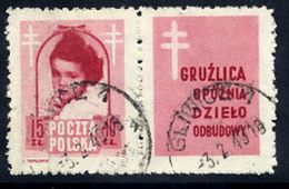 POLAND 1948 Anti-Tuberculosis Fund 15+10 Zl. With Label, Used.  Michel 514 Zf, Fischer 488 Pw5 - 1944-.... Republic