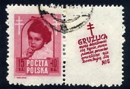 POLAND 1948 Anti-Tuberculosis Fund 15+10 Zl. With Label, Used.  Michel 514 Zf, Fischer 488 Pw10 - 1944-.... Republic