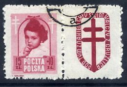 POLAND 1948 Anti-Tuberculosis Fund 15+10 Zl. With Label, Used.  Michel 514 Zf, Fischer 488 Pw8 - 1944-.... Republic