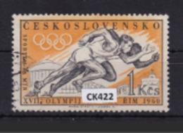 """Cecoslovacchia 1960:  Francobollo Usato Da 1 Kr. Della Serie """"Olimpiadi Di Roma"""". - Tschechoslowakei/CSSR"""