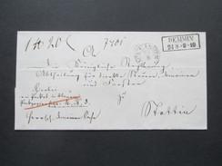 Altdeutschland Mecklenburg Stempel R2 Demmin Und K1 Pack Kammer. Paketbegleitbrief?! Klebezettel 578 - Mecklenburg-Schwerin