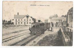 Marche Station Du Tram Carte Postale Ancienne Animée Tramway 1910 - Marche-en-Famenne