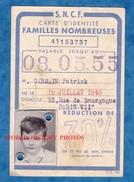 Carte D'identité SNCF Famille Nombreuse - 1955 - Enfant Petit Garçon Paris  - Cachet Gare D' AUSTERLITZ - Non Classés