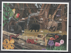 Liberia 1997,9V In Block,parrots,birds,genet,leopard,gorille,sanglier,elephant,skink,flowers,MNH/Postfris(L3180) - Perroquets & Tropicaux