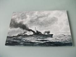 NAVE SHIP GUERRA CACCIATORPEDINIERE ALPINO II GUERRA MONDIALE ILLUSTRATORE VEDI FIRMA - Guerra