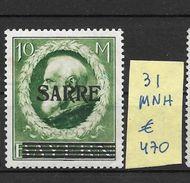 SARRE SAAR AN 1920 YVERT NR. 31 MNH AVEC DEUX CERTIFICATIONS D'EXPERTS AU DOS BOCKING ET AUTRE - Ongebruikt