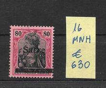 SARRE SAAR AN 1920 YVERT NR. 16 MNH AVEC CERTIFICATION D'EXPERT SEBASTIAN GRUNBERG AU DOS - Ongebruikt