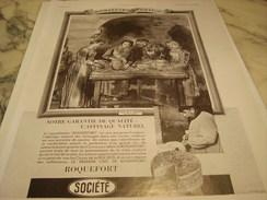 ANCIENNE PUBLICITE FROMAGE SOCIETE ROQUEFORT 1937 - Posters