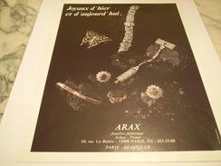 ANCIENNE PUBLICITE JOAILLIER  ARAX - Bijoux & Horlogerie
