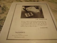 ANCIENNE PUBLICITE MONTRE TAVANNES LA CAPTIVE 1929 - Autres