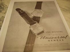 ANCIENNE PUBLICITE MONTRE SIGNEE UNIVERSAL GENEVE 1948 - Autres
