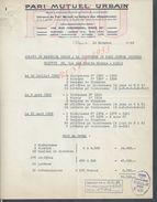 LETTRE PMU PARI MUTUEL URBAIN PARIS RUE MIROMESNIL 1952 : - Equitation