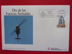 Espagne FDC Hélicoptère Journée Des Forces Armées Monument - Helicopters