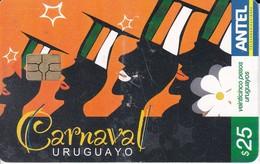 Nº 482 TARJETA DE URUGUAY DEL CARNAVAL URUGUAYO CATEGORIA LUBOLOS - Uruguay