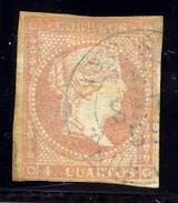 Año 1856 Edifil 48 Sello 4c Isabel II Matasellos Amposta Tarragona  Tipo I Azul - 1850-68 Königreich: Isabella II.