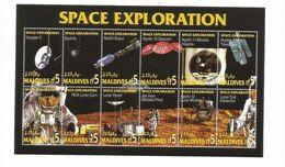 1994 Maldives Space Exploration Miniature Sheet Of 12 MNH - Asie