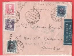 L  ESPAGNE ESPANA SOLLER BALEARES CENSURA MILITAR  24 ENE 1939 VIA AEREA BRUXELLES - 1931-Oggi: 2. Rep. - ... Juan Carlos I