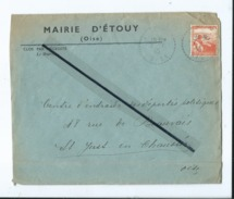 Enveloppe Ancienne De 1945 Timbrée - Mairie D'Etouy  -(Oise ) - Poststempel (Briefe)