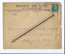Enveloppe Ancienne De 1945 Timbrée - Mairie De Litz Par La Neuville En Hez  -(Oise ) - Marcofilie (Brieven)