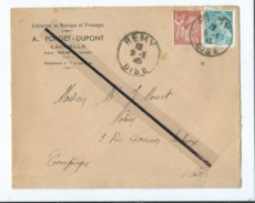 Enveloppe Ancienne De 1945 Timbrée - Entreprise De Battages Et Pressages - Lachelle Par Rémy  -(Oise )  Dest- Notaire - Postmark Collection (Covers)
