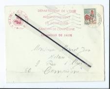 Enveloppe Ancienne  Timbrée - Mairie , Commune De Jaux ,arrondissement , Canton De Compiègne -   Dest- Notaire - Poststempel (Briefe)