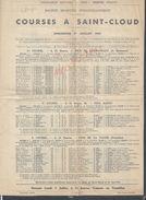 PROGRAMME OFFICIEL COURSES À SAINT CLOUD 1951 AVEC DIVRES PUBLICITÉ DONT LA 4 CV RENAULT LOTERIE NATIONALE CROIX ROUGE - Equitation