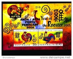 AUSTRALIA-CHRISTMAS ISLANDS - 2005 YEAR OF THE ROOSTER MS OVPT APTA PERTH - Christmas Island