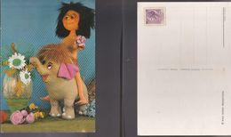 13452) CURIOSA IMMAGINE DI BAMBOLA SU ELEFANTE NON VIAGGIATA - Cartoline