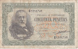 BILLETE DE ESPAÑA DE 50 PTAS DEL 9/01/1940 SERIE D CALIDAD  BC (BANKNOTE) - [ 3] 1936-1975 : Régence De Franco