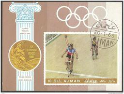 Ajman 1969 Mi# Block 77 B Used - Imperf. - Cycling / Tandem Racing / Summer Olympics, Mexico '68 - Ciclismo